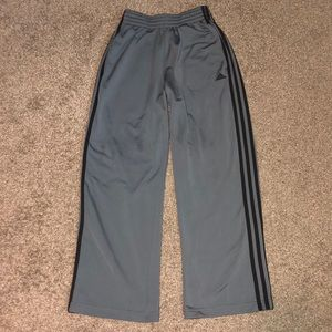 Adidas small grey sweatpants with black stripes
